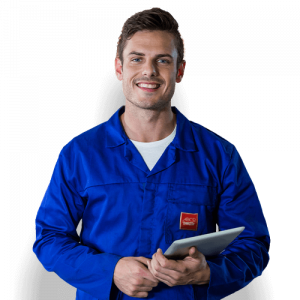 Man in blue Abco overalls with clipboard